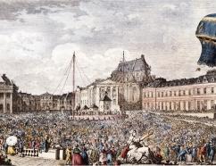 Vuelo de Jacques Charles en solitario, el 1 de diciembre de 1783. Grabado de 1887
